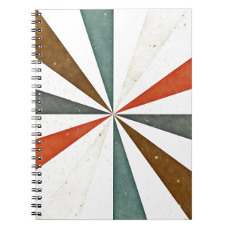 Sixties 5 Colors Swirl On White Background Spiral Note Books