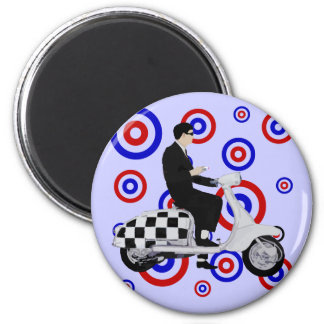 Sixties check mod scooter rider 2 inch round magnet