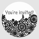 Sixties Circles Black Birthday Party Envelope Seal Classic Round Sticker