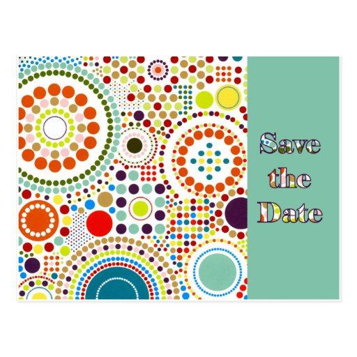 Sixties Circles Save the Date Postcard