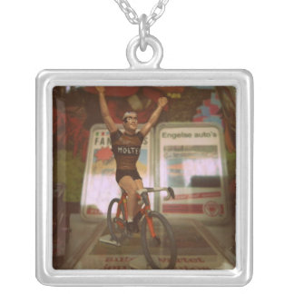Sixties cyclist personalized necklace