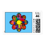 Sixties Flower Power Postage Stamps
