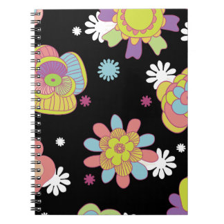 Sixties Flowers With Black Background Spiral Notebook