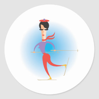 Sixties Lady Skier Classic Round Sticker