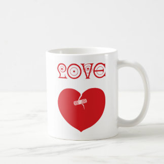 Sixties Love Bandaged Heart mug