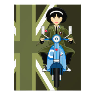 Sixties Mod Girl in Parka with Scooter Flyer