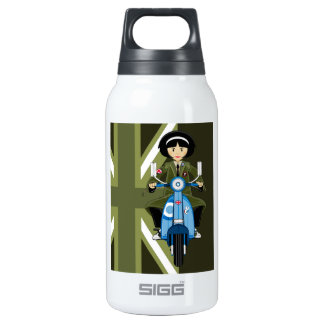 Sixties Mod Girl in Parka with Scooter Insulated Water Bottle