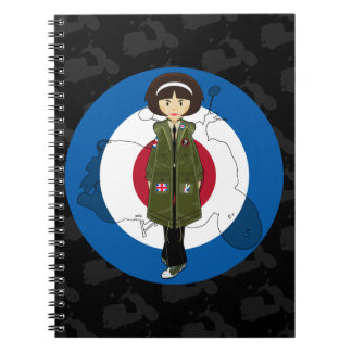 Sixties Mod Girl in Parka with Scooter Notebook