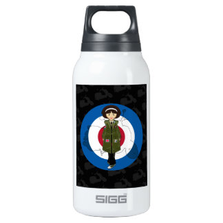 Sixties Mod Girl in Parka with Scooter Thermos Bottle