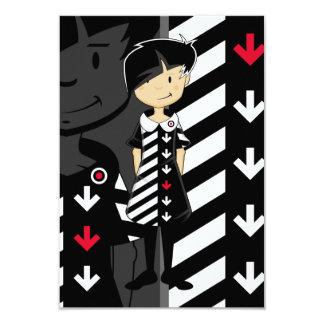 Sixties Mod Girl in Retro Dress RSVP Card
