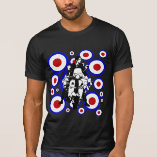 Sixties Mod scooter boy on retro circles T-Shirt