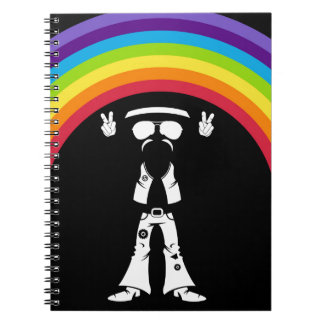 Sixties Peace Hippie Rainbow Silhouette Spiral Note Book