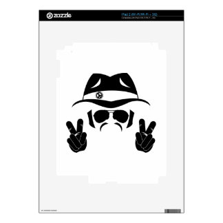 Sixties Peace Hippie Silhouette Decals For iPad 2