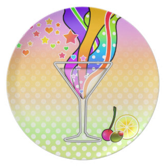SIXTIES POP ART STYLE MARTINI DINNER PLATE