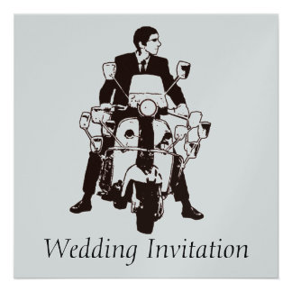 Sixties Scooter Boy Wedding Invitations