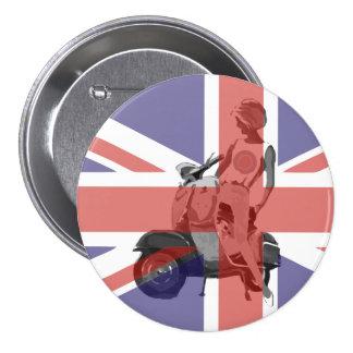 Sixties scooter girl art pinback button