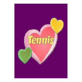 Sixties Tennis Hearts Large Business Cards (Pack Of 100)