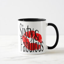 Sixty and Fabulous with Hot Red Lips Mug
