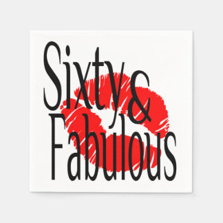 Sixty and Fabulous with Hot Red Lips Napkin