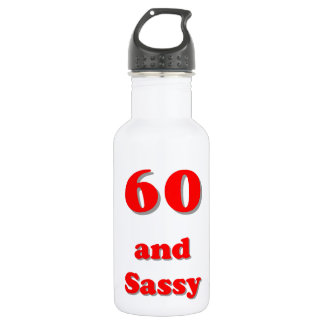 Sixty and sassy humorous age birthday water bottle