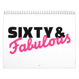 Sixty & fabulous birthday wall calendar