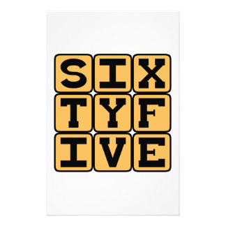 Sixty Five, Number 65, Retirement Age Stationery