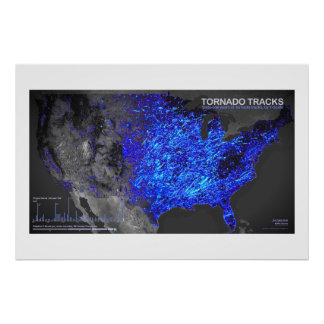Sixty-One Years of Tornado Tracks Poster