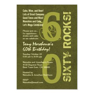 Sixty Rocks! 60th Birthday Party Modern Grunge Card