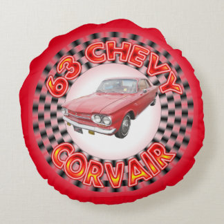 Sixty Three Chevy Corvair Round Pillow. Round Pillow