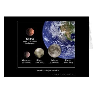 Size Comparisons Sedna Quaoar Pluto Earth- NASA Card