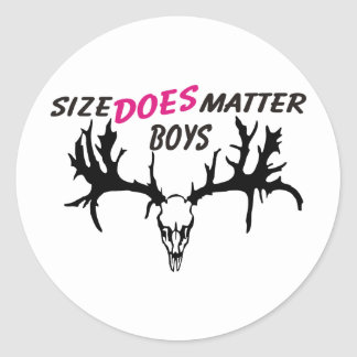 size does matter classic round sticker