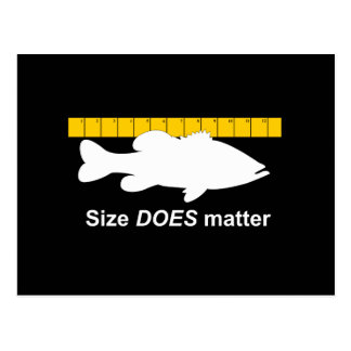 """Size Does Matter"" - Funny bass fishing Postcard"