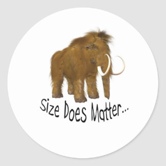 Size Does Matter Wooly Mammoth Classic Round Sticker