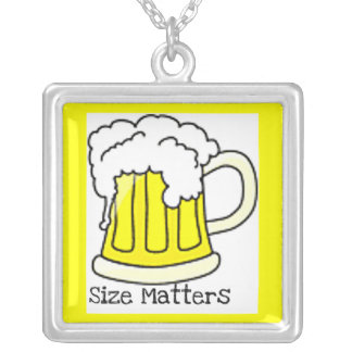 """""""SIZE MATTERS"""" FUN BEER MUG PRINT SILVER PLATED NECKLACE"""