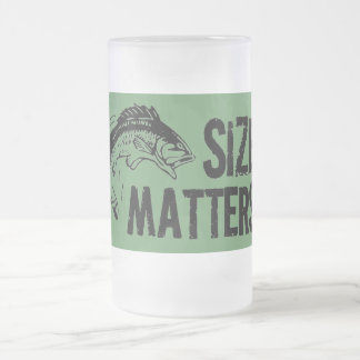 Size Matters! Funny Fishing Design 16 Oz Frosted Glass Beer Mug
