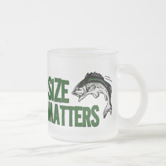 Size Matters - Funny Fishing Design Frosted Glass Coffee Mug