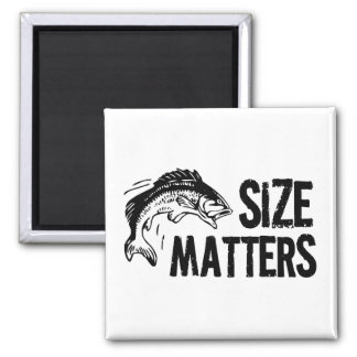Size Matters! Funny Fishing Design 2 Inch Square Magnet