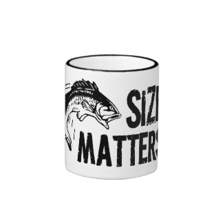 Size Matters! Funny Fishing Design Ringer Coffee Mug