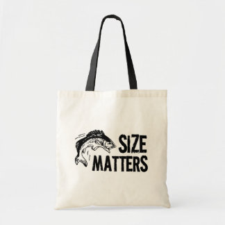Size Matters! Funny Fishing Design Tote Bag