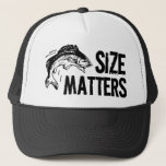 "Size Matters! Funny Fishing Design Trucker Hat<br><div class=""desc"">When it comes to catching fish,  size definately matters! This humorous sportfishing design features large text and a jumbo jumping fish graphic,  sure to be a huge hit for fishing men and women after a big one!</div>"