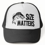 Size Matters! Funny Fishing Design Trucker Hat<br><div class='desc'>When it comes to catching fish,  size definately matters! This humorous sportfishing design features large text and a jumbo jumping fish graphic,  sure to be a huge hit for fishing men and women after a big one!</div>