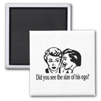 Size Of His Ego Retro 2 Inch Square Magnet
