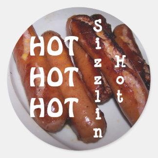 Sizzlin, caliente pegatina redonda