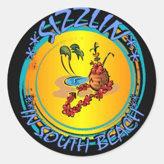 Sizzlin en playa del sur pegatina redonda