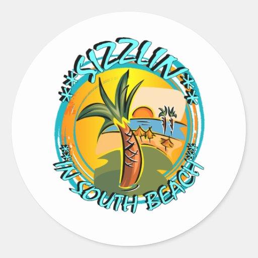 Sizzlin In South Beach Classic Round Sticker