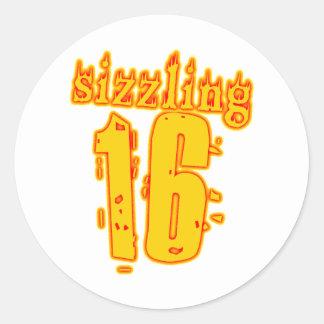 Sizzling 16 Birthday Presents Classic Round Sticker