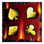 SIZZLING AND FLAMING SUITS POKER ART POSTER