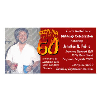 Sizzling At 60 Birthday Party Photo Invite