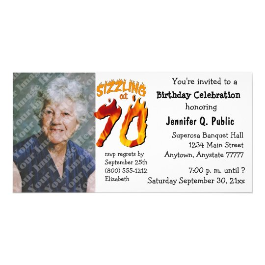 Sizzling At 70 Birthday Party Photo Invitation