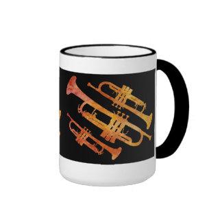 Sizzling Orange and Black Trumpet Wrap Ringer Coffee Mug